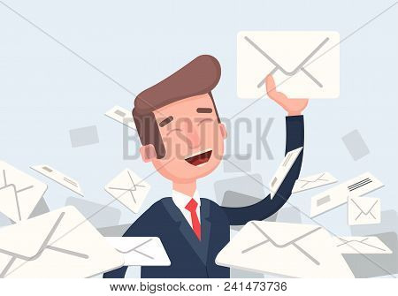 Businessman found right letter in a pile of emails. A lot of emails, spam, direct mail. Vector illustration of a flat design. stock photo