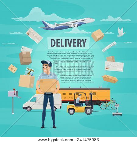 Post mail delivery poster for postage logistics. Vector flat design of postman or mailman delivering letters envelopes and parcels on delivery air air and train transport vehicles for courier shipping stock photo
