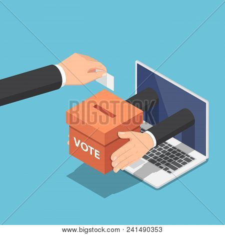 Flat 3d isometric businessman hand putting voting paper into ballot box that come out from laptop monitor. Online voting and election concept. stock photo
