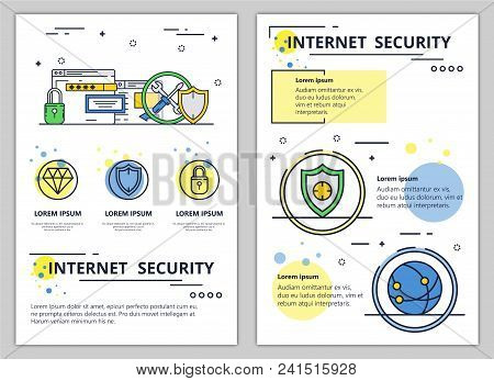 Internet security web banner, poster, flyer, leaflet, brochure template. Vector modern thin line art flat style design illustration. stock photo