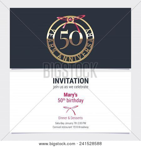 50 years anniversary invitation to celebration event vector illustration. Design element with number and text for 50th birthday card, party invite stock photo
