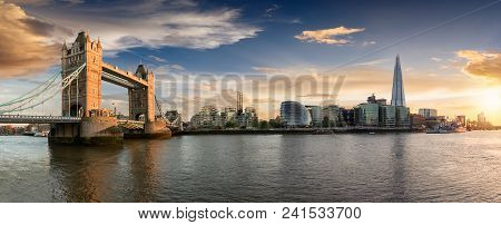 The Skyline Of London: From The Tower Bridge To London Bridge During Sunset Time, United Kingdom