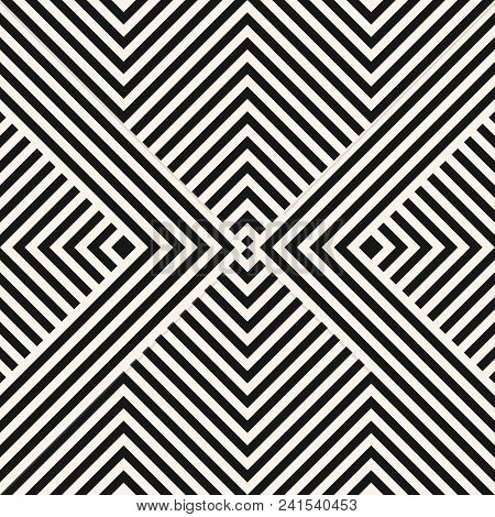 Vector geometric lines seamless pattern. Modern stylish linear background with stripes, diagonal shapes, squares, chevron. Abstract graphic black and white striped texture. Repeatable design element. Lines pattern. Herringbone pattern. stock photo