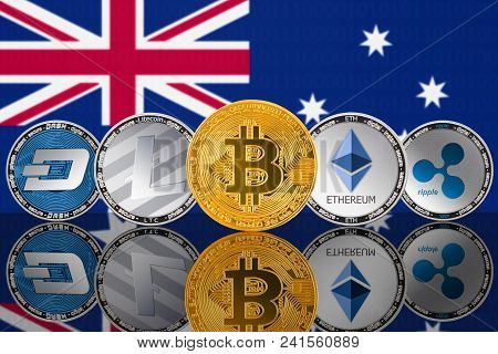 Cryptocurrency coins on the background of the flag of Australia. Bitcoin (BTC), Litecoin (LTC), Ethereum (ETH), Ripple (XRP), DASH (DigitalCash) stock photo