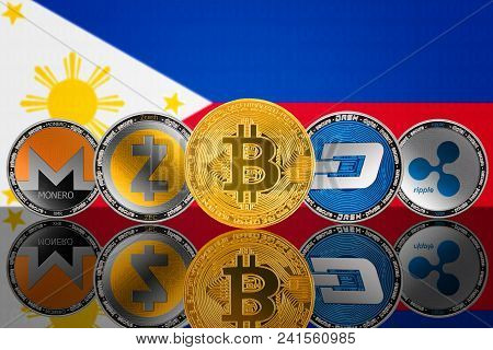 Cryptocurrency coins on the background of the flag of Philippines. Bitcoin (BTC), Monero (XMR), Zcash (ZEC), Ripple (XRP), DigitalCash (DASH) stock photo