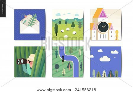Simple things - cards - flat cartoon vector illustration of envelope, herbarium, sheep, field, tower clock, hunter, grass, binocular, top view forest river map, sky view - summer postcards composition stock photo