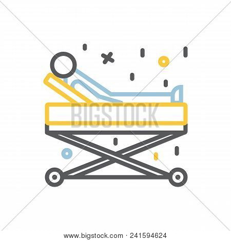 Sick person on a gurney icon, hospitalization of the patient.Diseace.Transportation sick man sign isolated on a white background stock photo