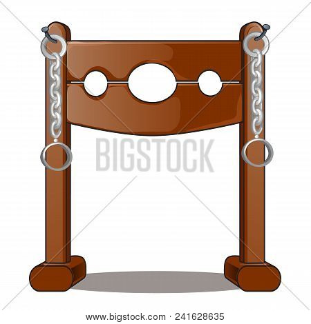Ancient instruments of torture. Wooden shackles and iron chain. stock photo