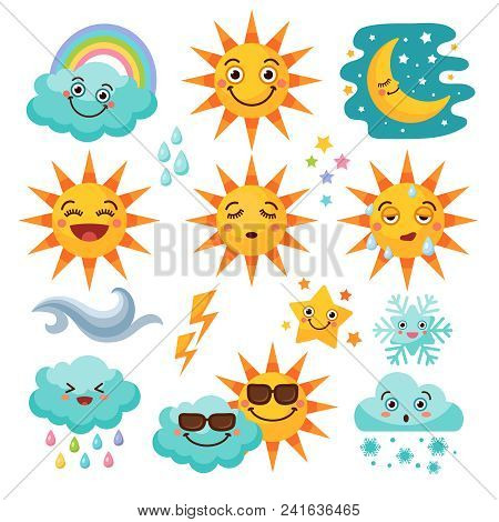 Various weather icon set. Snowflake and rain, cloudy and forecast, storm and snow. Vector illustration stock photo