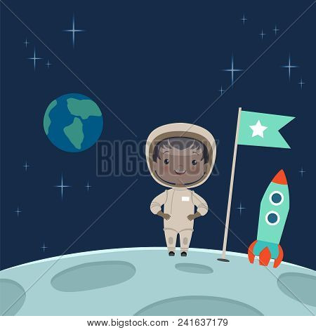 Kid astronaut standing on the moon. Space background illustration. Cosmonaut or astronaut child on planet vector stock photo