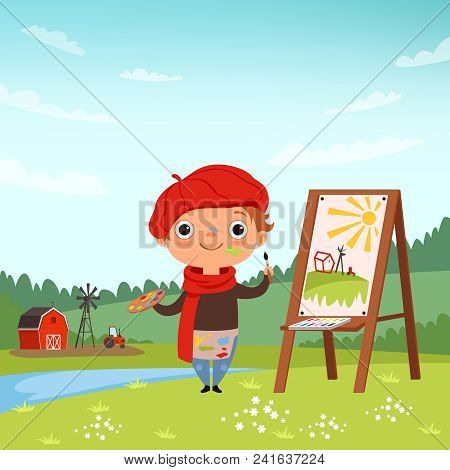 Creative childrens. Little artist making pictures in the open air. Child painter with brush and palette, vector illustration stock photo