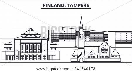 Finland, Tampere line skyline vector illustration. Finland, Tampere linear cityscape with famous landmarks, city sights, vector design landscape. stock photo