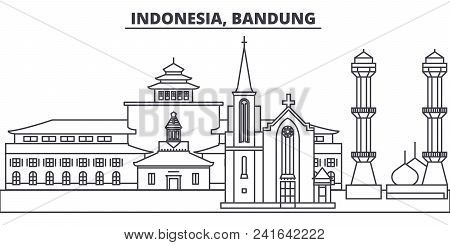 Indonesia, Bandung line skyline vector illustration. Indonesia, Bandung linear cityscape with famous landmarks, city sights, vector design landscape. stock photo