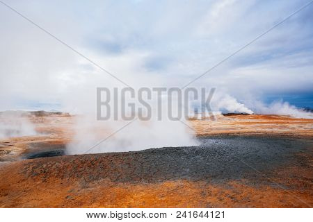 Landscape with eruption steam. Geothermal area Hverir, Iceland, Europe stock photo