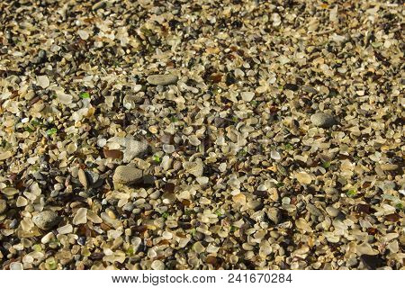 Glass Beach in Fort Bragg, California is known for its extreme amount of sea glass among the pebbles on the beach. stock photo
