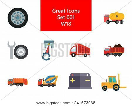 Automotive icons set with car wheel, crane truck and fork lift truck. Thirteen vector icons stock photo