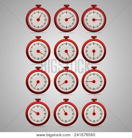 Red realistic timers, increments from 5 to 60, 5 minutes interval, 4 rows and 3 columns on gray background, for business or education. Seconds timer. Timing device. Stopwatch icon set 2. EPS 10. stock photo