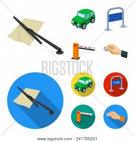 Car, parking barrier, bicycle parking place, coin in hand for payment. Parking zone set collection icons in cartoon, flat style vector symbol stock illustration . stock photo