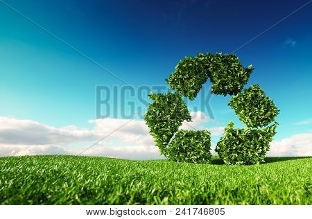 Eco Friendly Recyclation Concept. 3d Rendering Of Green Recycle Icon On Fresh Spring Meadow With Blu