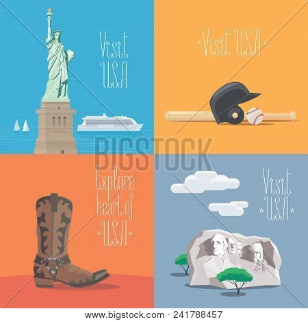 Set of vector illustrations with American symbols and landmarks - statue of liberty, Rushmore mount. Design elements for visit USA, United States of America concept stock photo