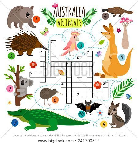 Australian animals crossword. Kids words brainteaser, word search puzzle game vector illustration stock photo