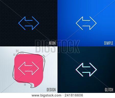 Glitch, Neon effect. Sync arrows line icon. Communication Arrowheads symbol. Navigation pointer sign. Trendy flat geometric designs. Vector stock photo