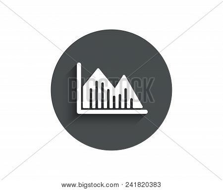 Financial chart simple icon. Economic graph sign. Stock exchange symbol. Business investment. Circle flat button with shadow. Vector stock photo