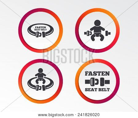 Fasten seat belt icons. Child safety in accident symbols. Vehicle safety belt signs. Infographic design buttons. Circle templates. Vector stock photo