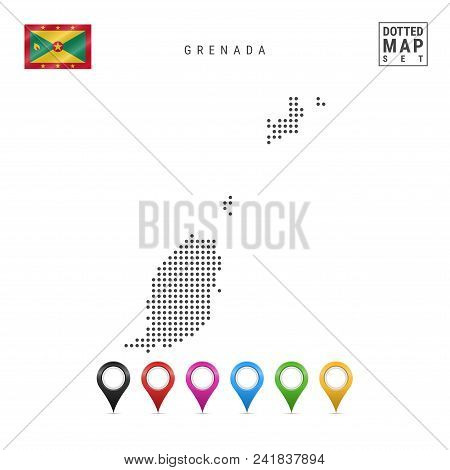 Dotted Map of Grenada. Simple Silhouette of Grenada. The National Flag of Grenada. Set of Multicolored Map Markers. Vector Illustration Isolated on White Background. stock photo