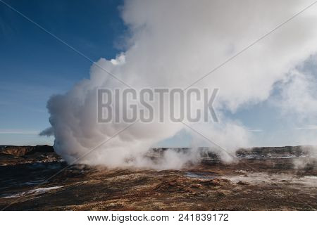 beautiful icelandic landscape with steam from geothermal hot springs, reykjanes, Gunnuhver Hot Springs, iceland stock photo
