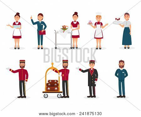 Set of hotel staff. Maid with clean towels, manager, bellboy with luggage trolley, doorman, chef of restaurant. Cartoon people characters at work. Colorful flat vector illustration isolated on white. stock photo