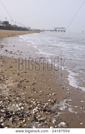 Tide in on Sandy Beach at Cleethorpes South Humberside UK stock photo