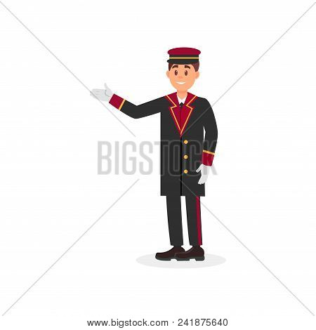 Hotel doorman in uniform coat, cap and gloves. Young man with smiling face expression. Cartoon guy character. Employee of hotel service. Colorful flat vector illustration isolated on white background stock photo