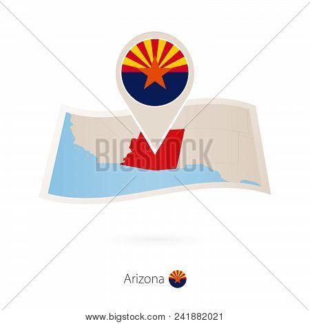 Folded paper map of Arizona U.S. State with flag pin of Arizona. Vector Illustration stock photo