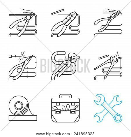 Construction tools linear icons set. Thin line contour symbols. Pliers, tongs, nippers, pincers cutting wire, crossed wrenches, adhesive tape, tool bag. Isolated vector outline illustrations stock photo