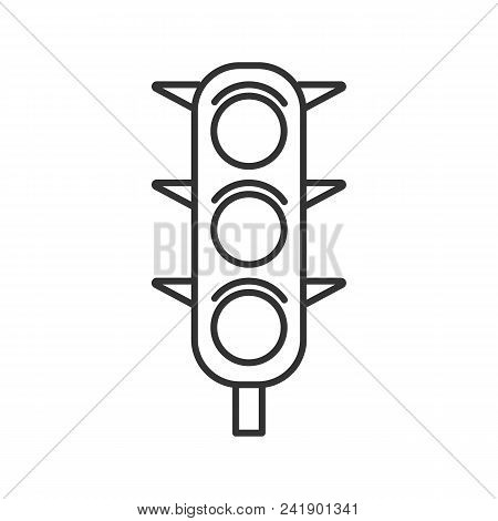 Traffic lights linear icon. Thin line illustration. Traffic semaphore. Stop lights. Contour symbol. Vector isolated outline drawing stock photo