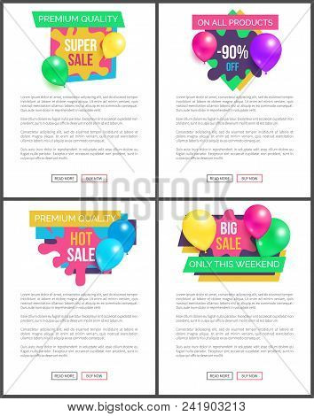 Exclusive quality total sale hot prices promo stickers with balloons and brush splashes web online posters, tag advertisement labels flying elements set stock photo