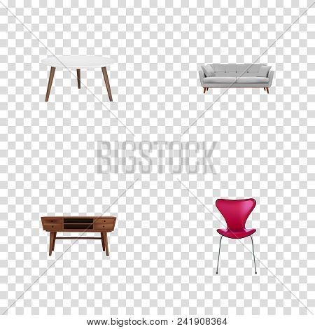 Set of furniture realistic symbols with round table, seating, divan and other icons for your web mobile app logo design. stock photo