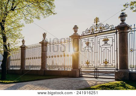 Gates of Summer Garden in Russia, Saint Petersburg. Sunny spring day. Green beautiful trees and grass. Fence with gate. Masterpiece of architecture stock photo