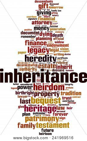 Inheritance word cloud concept. Vector illustration on white stock photo