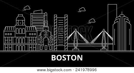 Boston city silhouette skyline. USA - Boston city vector city, american linear architecture, buildings. Boston city line travel illustration, landmarks. USA flat icon, american outline design banner stock photo