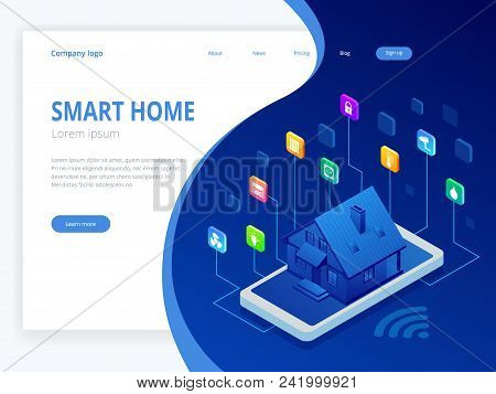 Isometric Smart home technology interface on smartphone app screen with augmented reality AR view of internet of things IOT connected objects in the apartment interior, person holding device. stock photo