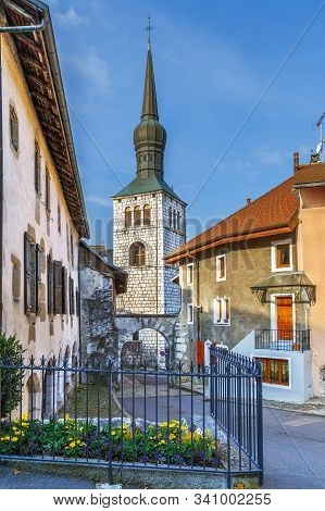 Saint-Jean-Baptiste church is a church located in La Roche-sur-Foron, France stock photo