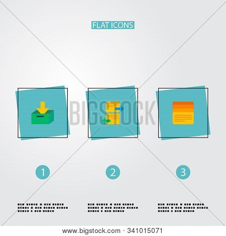 Set of management icons flat style symbols with task list, archive, arrange task and other icons for your web mobile app logo design. stock photo
