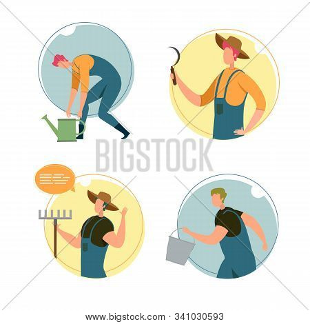 Set, Happy Characters Farm Workers, Illustration. Man in Overalls Bent over Watering Can, Guy in Hat Hold Sickle in Hands, Agricultural Worker with Rake Waves Hand, Character is Running with Bucket. stock photo