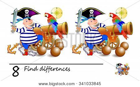 Find 8 differences. Illustration of cute pirate near the gun. Logic puzzle game for children and adults. Printable page for kids textbook. Developing counting skills. IQ test. Vector cartoon image. stock photo