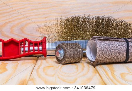 Set of abrasive tools and sandpaper on wooden boards wizard is used for grinding items stock photo