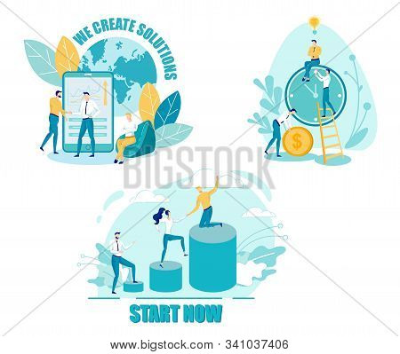 Achieving Goals Flat Vector Illustrations Set. Creative Solution, Job Ambition. Teambuilding, Employee Group. Business Agreement. Career Ladder. Supportive Coworkers Cartoon Characters stock photo