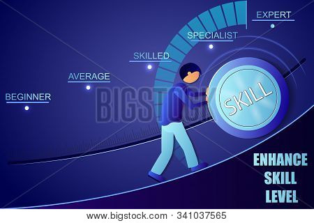 Skill levels knob button. Increasing Skills Level. . Concept of professional or educational knowledge. Vector illustration. stock photo