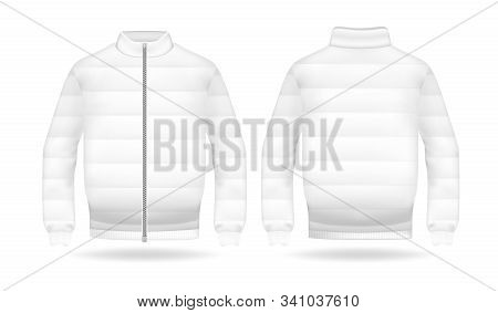 Realistic mockup of jacket or puffer coat. Mens and womens Jacket with long sleeves. Clothes in light, white colors. Template warm apparel with zipping. Front and back view stock photo
